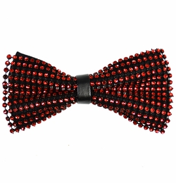 Red and Black Crystal Bow Tie