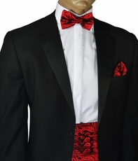 Red and Black Paisley Cummerbund and Bow Tie Set