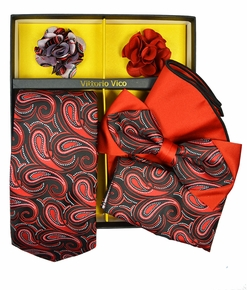 Red and Black Paisley Tie Set Gift Box