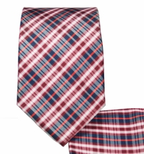 Red and Black Plaid Slim Necktie and Pocket Square