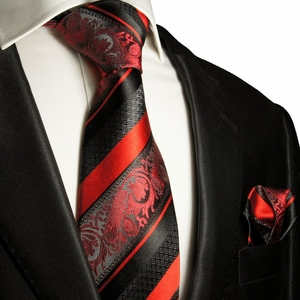 Red and Black Silk Tie Set . Paul Malone