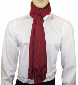 Red and Black Striped Men's Scarf by Paul Malone