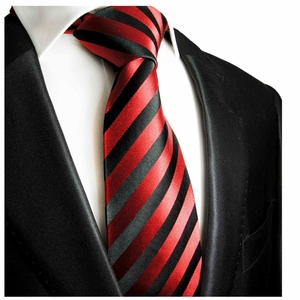 Red and Black Striped Paul Malone Silk Necktie