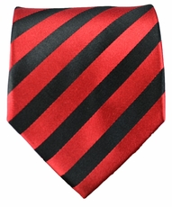 Red and Black Striped Paul Malone Silk Necktie (452)