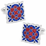 Red and Blue Deco Bloom Cufflinks