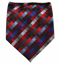 Red and Blue Patterned Men's Necktie