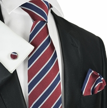 Red and Blue Regiment Striped Silk Tie Set by Paul Malone