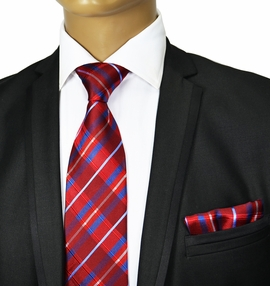 Red and Blue Silk Tie Set by Paul Malone