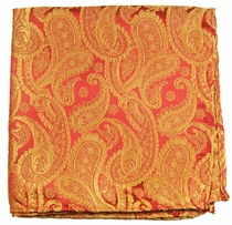 Red and Gold Paisley Mens Silk Handkerchief (H695)