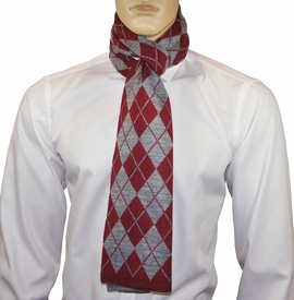 Red and Grey Argyle Men's Scarf by Paul Malone