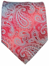 Red and Grey Paisley Men's Necktie