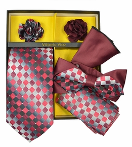 Red and Silver Patterned Tie Set Gift Box