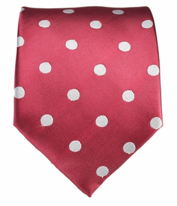 Red and Silver Polka Dot Necktie