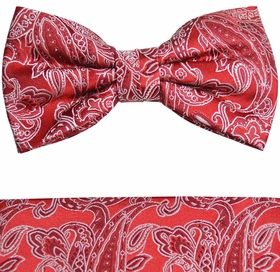Red and White Bow Tie and Pocket Square Set by Paul Malone (BT926H)
