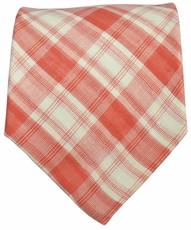Red and White Checked Cotton Tie by Paul Malone