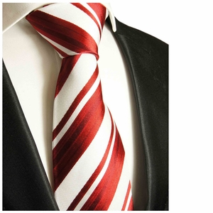Red and White Paul Malone Neck Tie, 100% Silk (121)