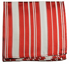 Red and White Silk Pocket Square (H445)