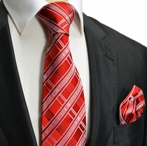 Red and White Silk Tie a. Pocket Square by Paul Malone