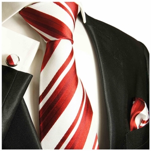 Red and White Striped Silk Tie Set by Paul Malone