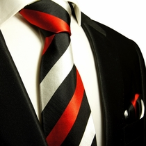 Red, Black and Silver Striped Paul Malone Silk Tie Set (410H)