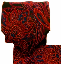 Red, Blue and Black Paisley Necktie Set (Q569-M)