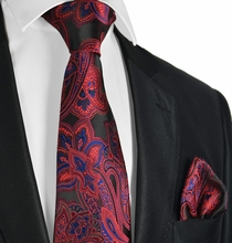 Burgundy, Black and Navy Paisley Men's Tie Set