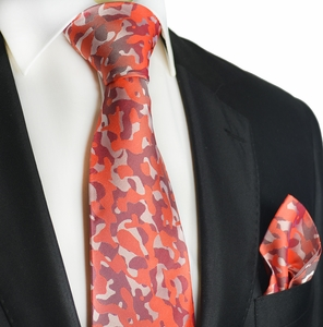 Red Camouflage Silk Tie Set by Paul Malone Red Line