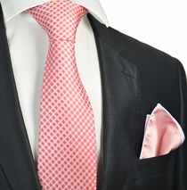 Red Checked Tie and Pocket Square Set