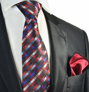 Red Checked Tie with Contrast Rolled Pocket Square