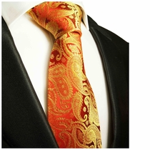 Red & Gold Paisley Paul Malone Silk Necktie