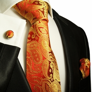 Red & Gold Paisley Paul Malone Silk Tie Set (695CH)