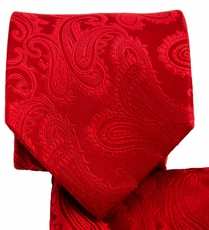 Red Paisley Necktie and Pocket Square Set (Q600-CC)