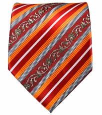 Red, Orange and Silver Striped Mens Tie