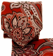 Red Paisley Necktie and Pocket Square Set (Q569-A)