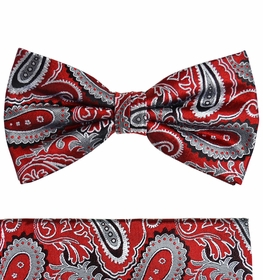 Red and Gray Paisley Silk Bow Tie Set by Paul Malone (BT563H)