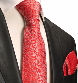 Red Paisley Silk Tie a. Pocket Square . Paul Malone
