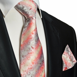 Red Paisley Silk Tie and Pocket Square . Paul Malone