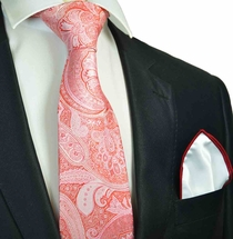 Red Paisley Tie with Contrast Rolled Pocket Square
