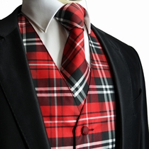 Red Plaid Tuxedo Vest and Necktie Set