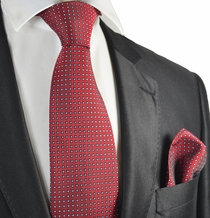 Red Polka Dots Tie and Pocket Square Set