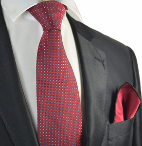 Red Polka Dots Tie with Contrast Rolled Pocket Square