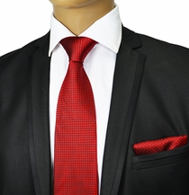 Red Silk Tie and Pocket Square by Paul Malone