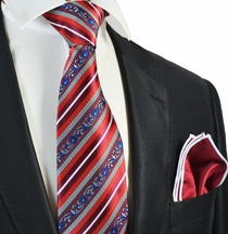 Red Striped Tie and Solid Red Rolled Pocket Square Set