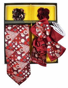Red Vittorio Vico Men's Tie Gift Box Set