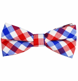Red, White and Blue Checked Cotton Bow Tie by Paul Malone