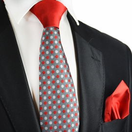 Ribbon Red and Grey Contrast Knot Tie Set by Paul Malone