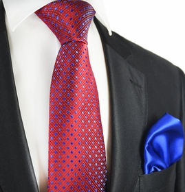 Rio Red and Blue 7-fold Silk Tie Set by Paul Malone