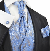Riviera Blue Paisley Tuxedo Vest Set by Paul Malone