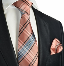 Rose Dawn Plaid Men's Tie and Pocket Square