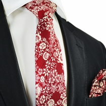 Rosewood Red and Cream Flower Cotton Tie Set